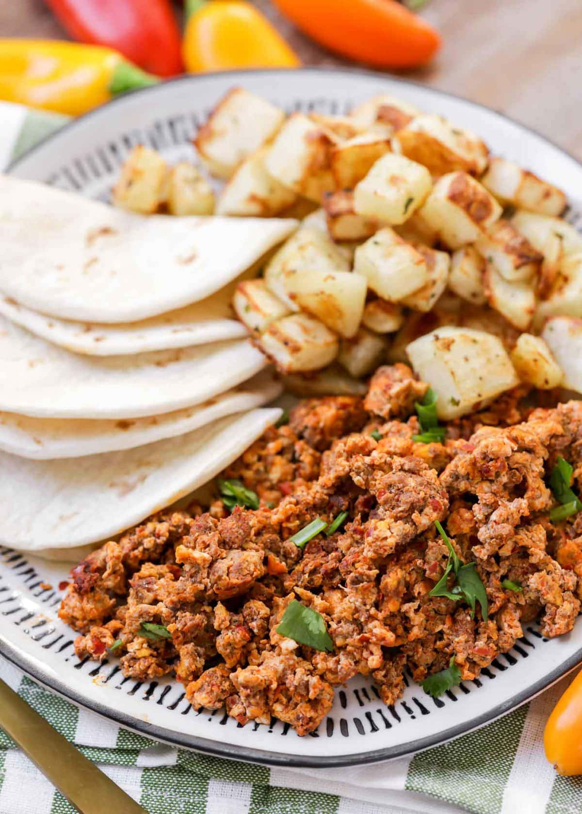 Chorizo and Eggs recipe on plate
