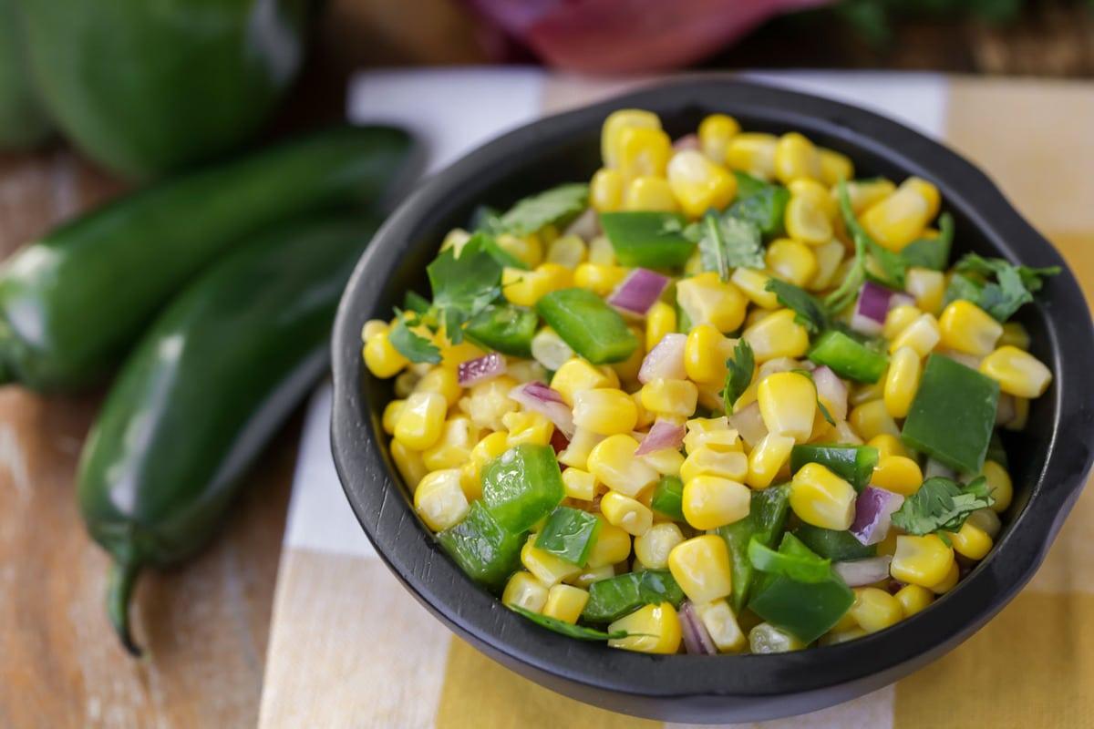 Corn salsa recipe in bowl
