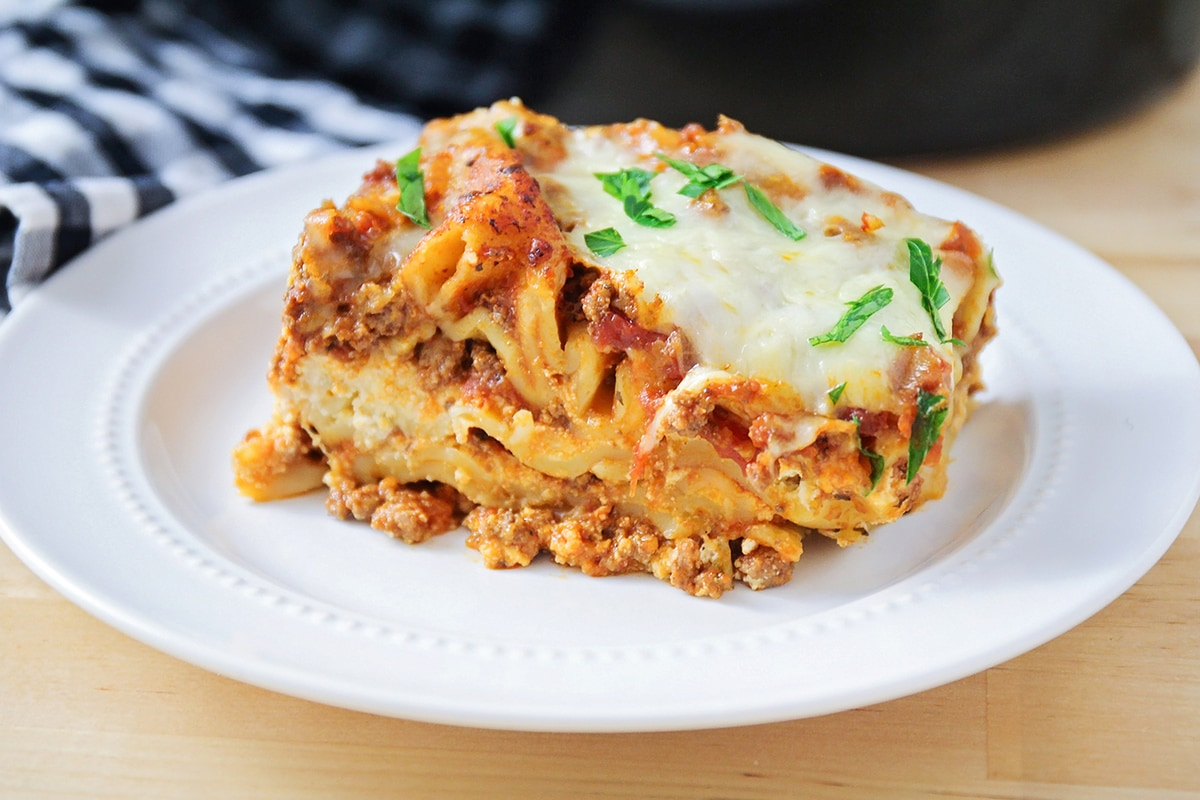 Crockpot Lasagna piece on plate