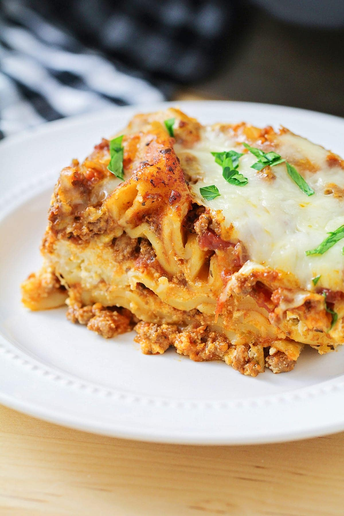 Slow Cooker Lasagna piece on plate