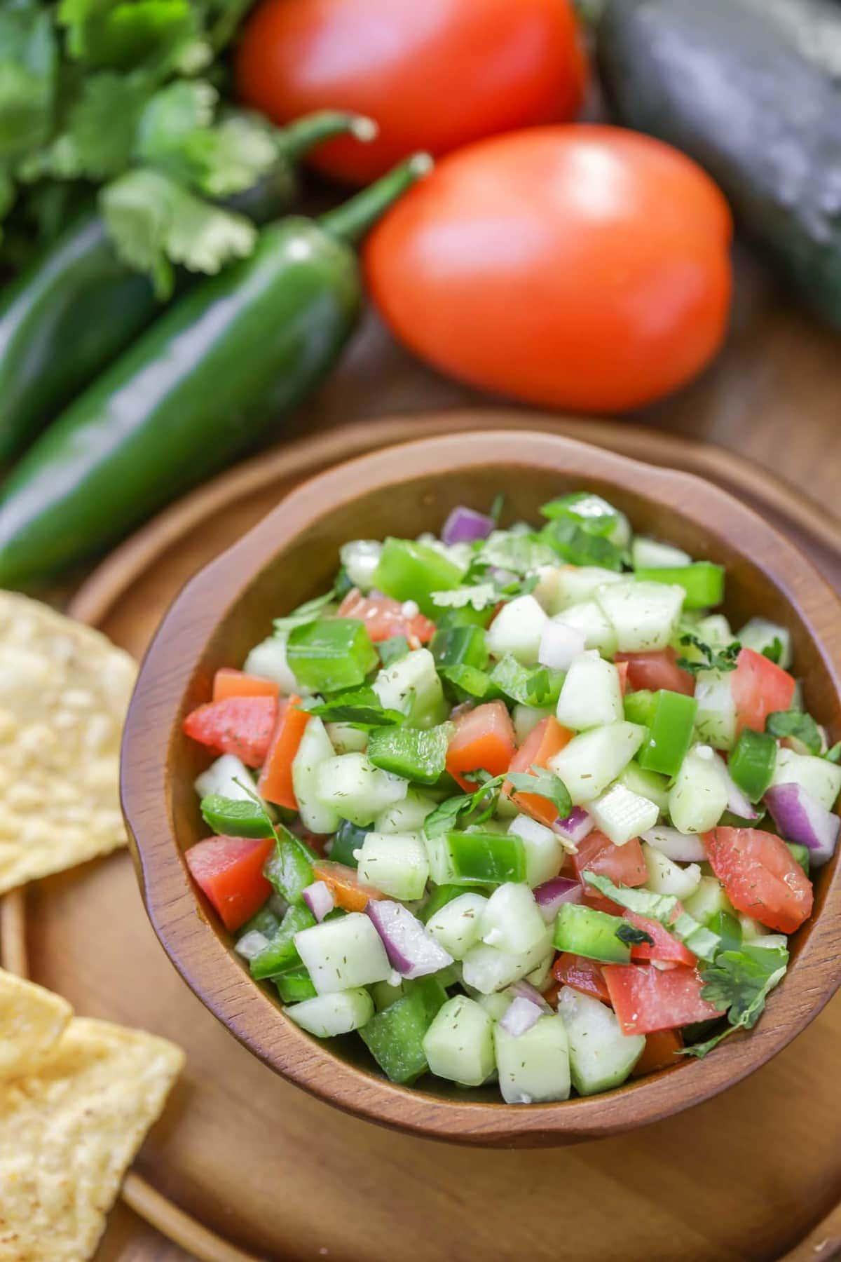 Cucumber salsa in bowl