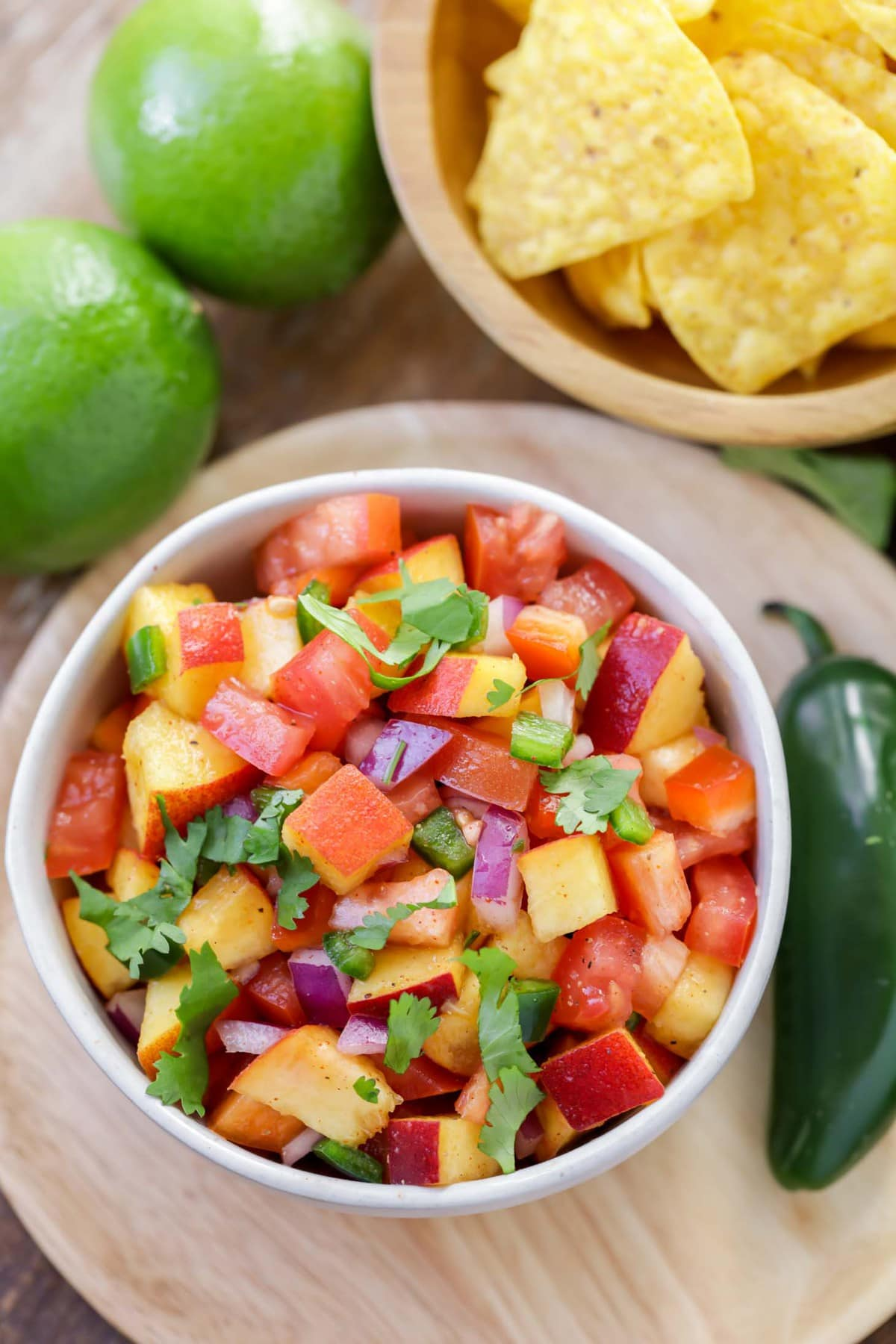 Fresh peach salsa in bowl