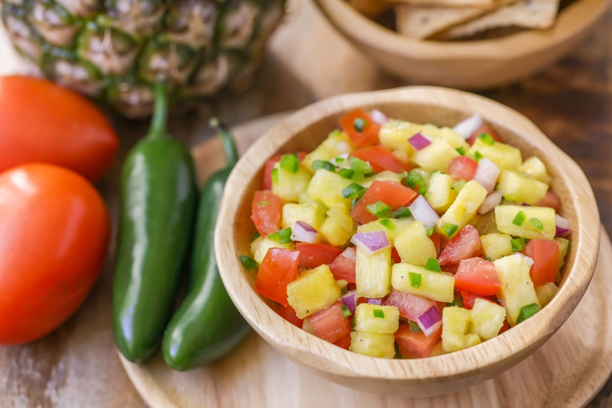 Pineapple salsa in bowl