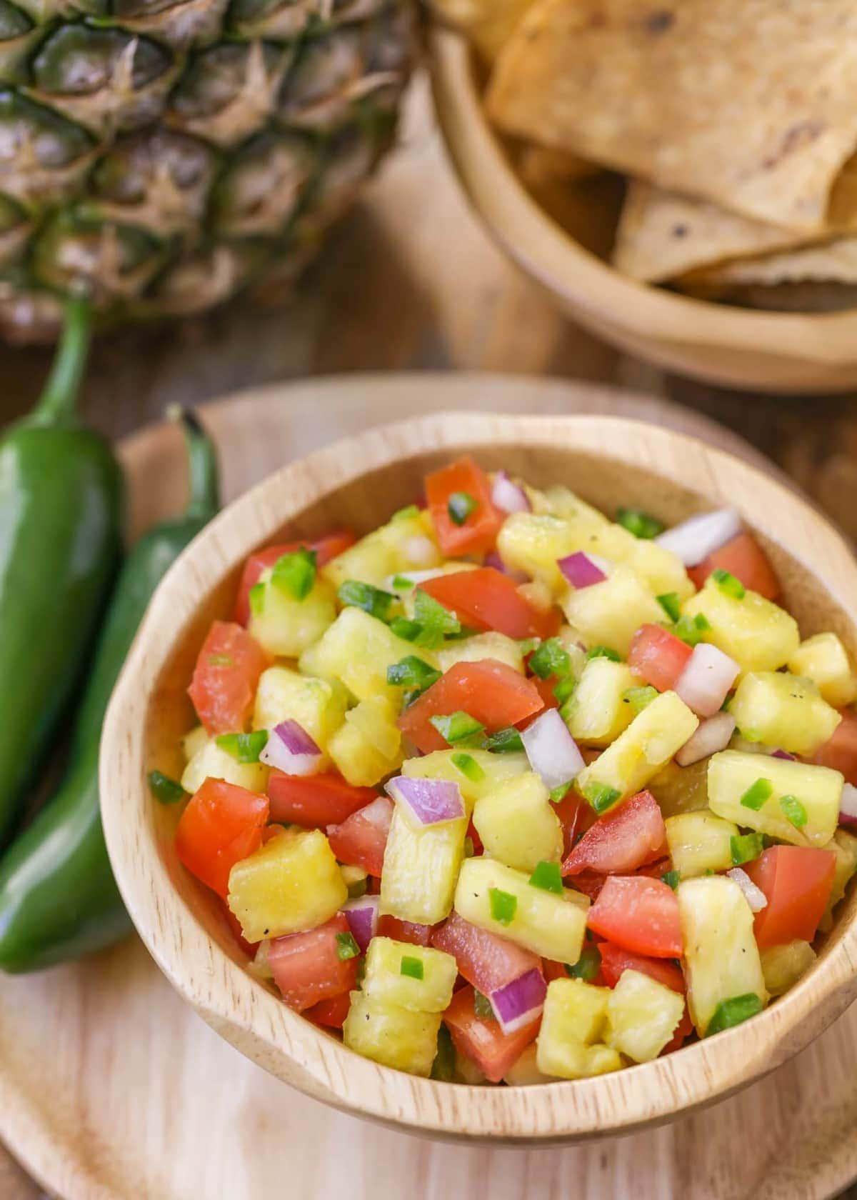 Pineapple jalapeno salsa in bowl