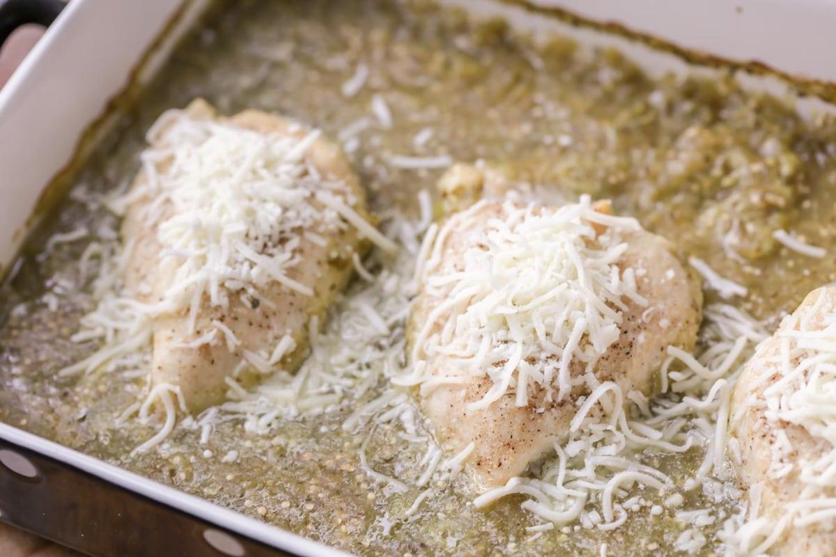 Baked salsa verde chicken in dish