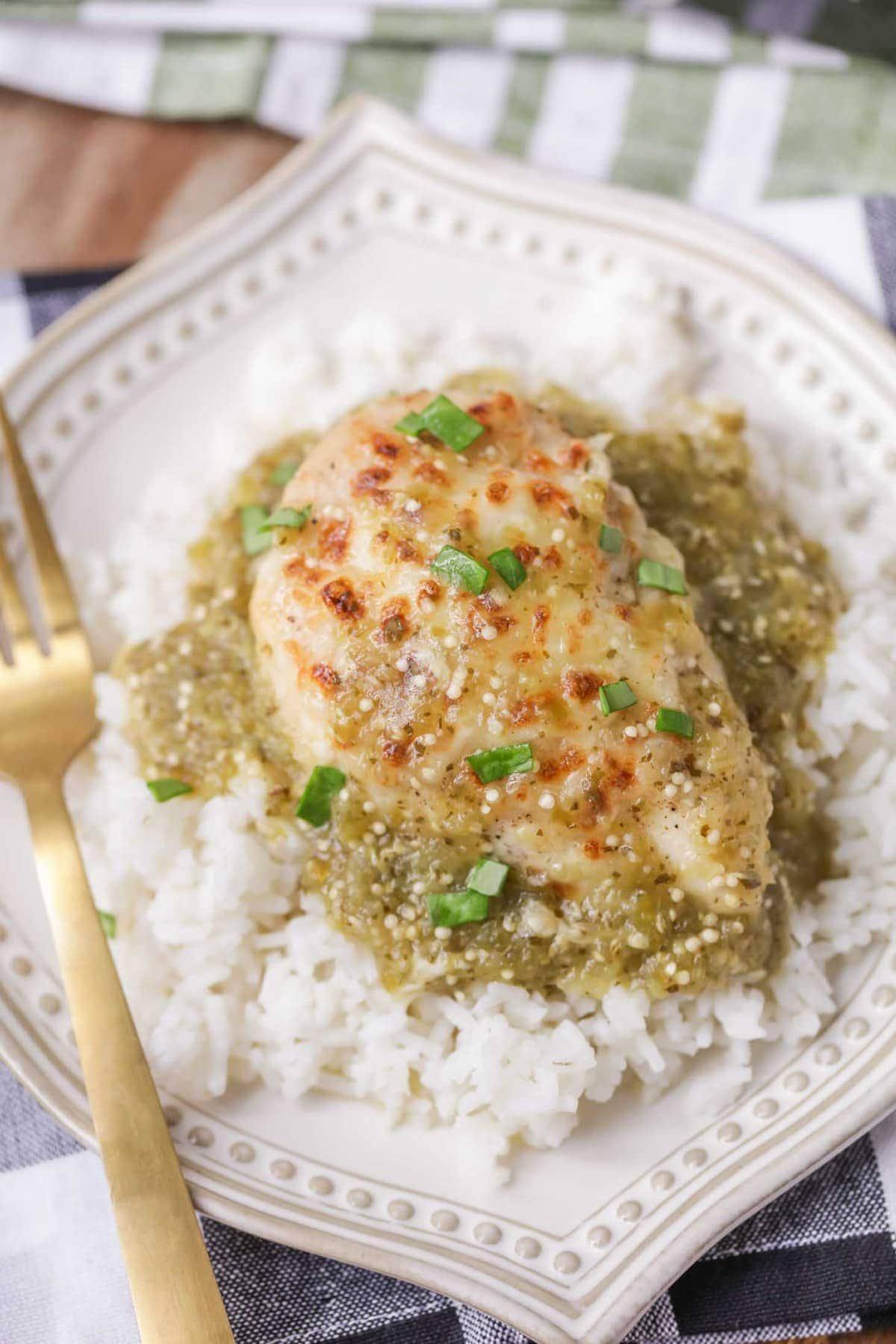 Salsa verde chicken over rice on plate