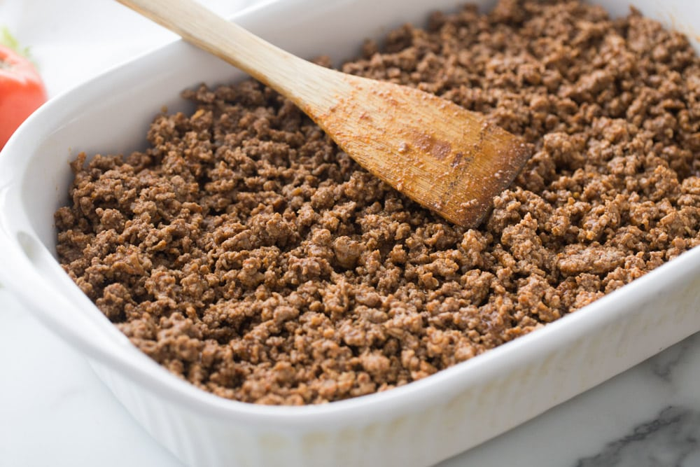 Hamburger meat in casserole dish
