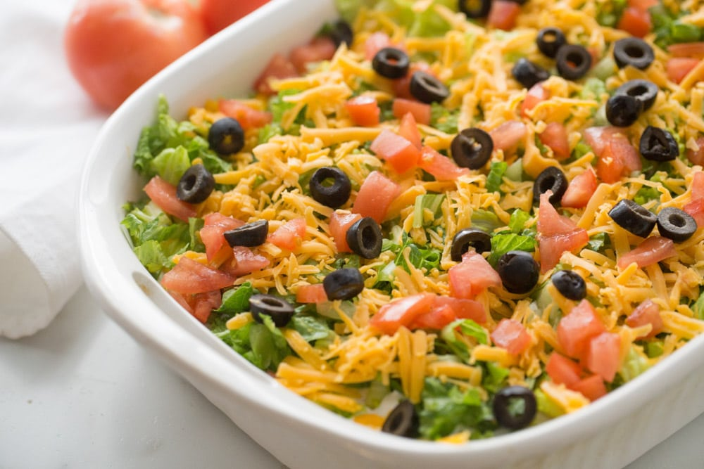 Taco casserole close up