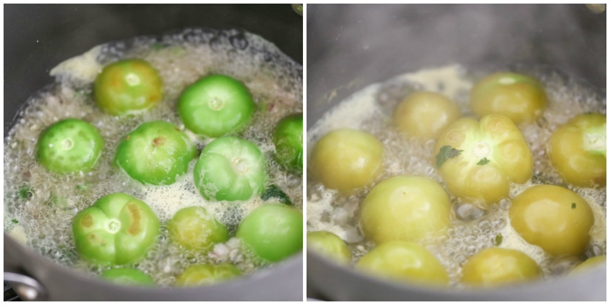 Roasted tomatillo salsa recipe in pot