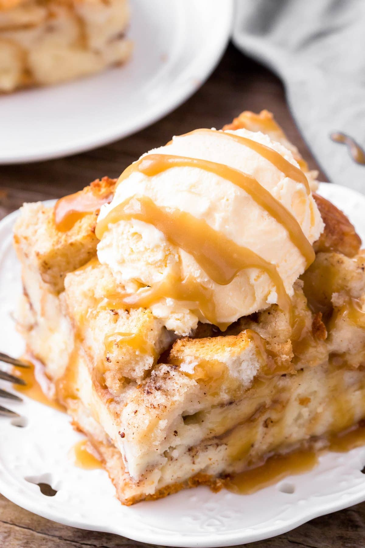 Easy bread pudding recipe on plate