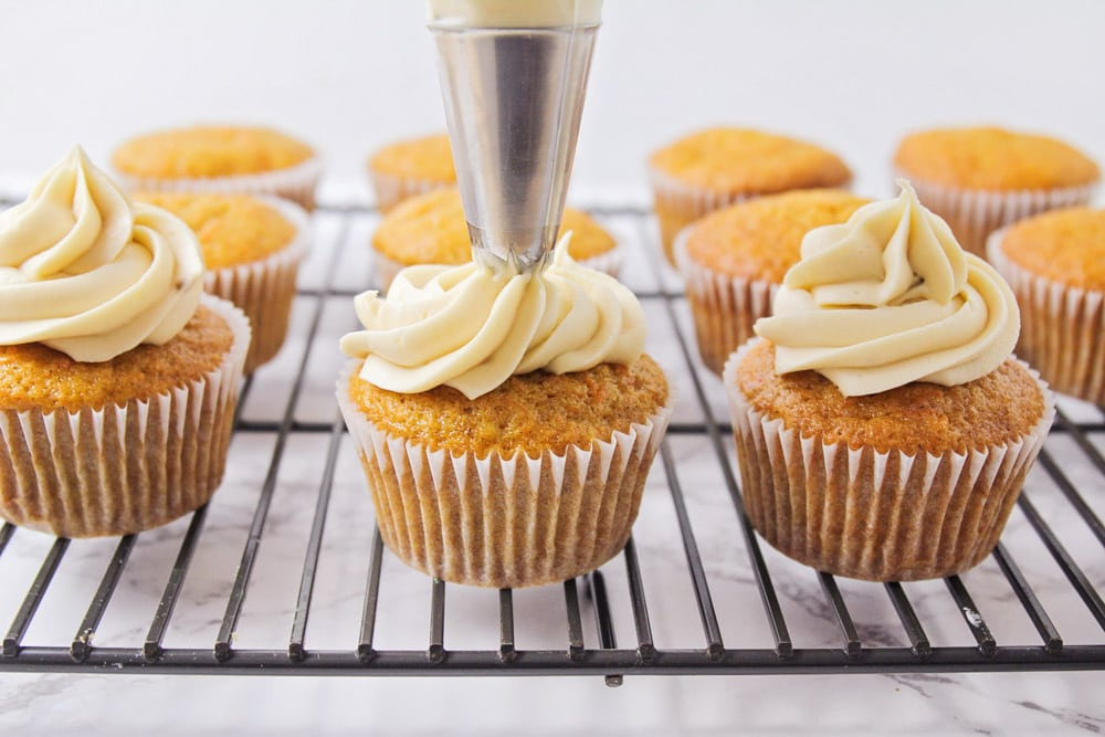 Carrot cupcakes with brown sugar frosting