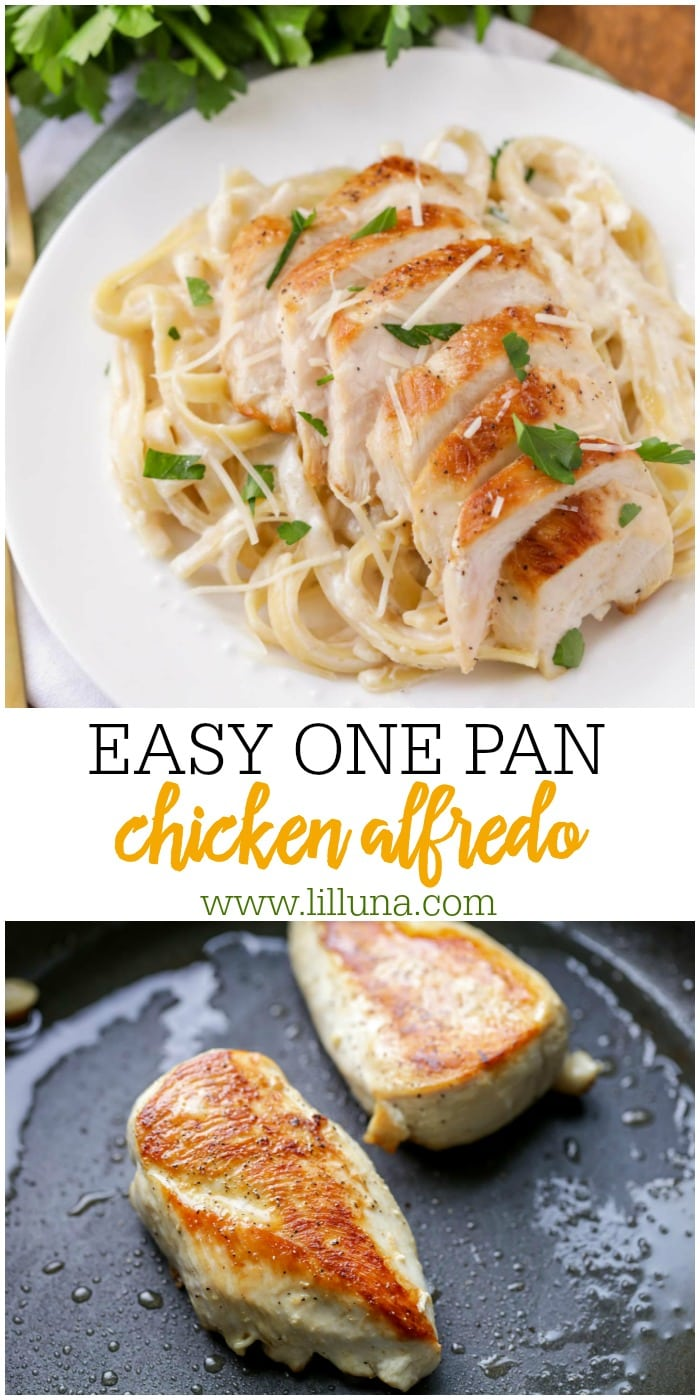 Easy Chicken Alfredo made in one pan!