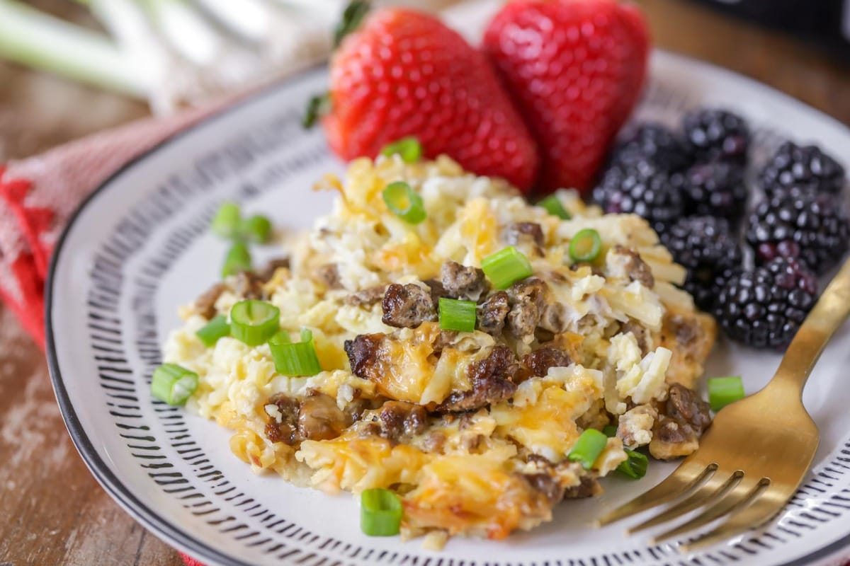 Crockpot Breakfast Casserole served with fresh berries
