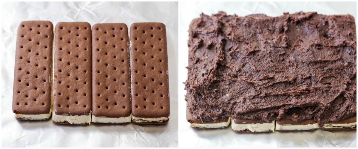 How to Layer Ice Cream Sandwich Dessert process pics
