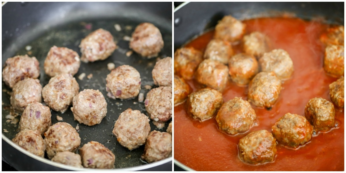 Porcupine meatballs simmered in tomato sauce