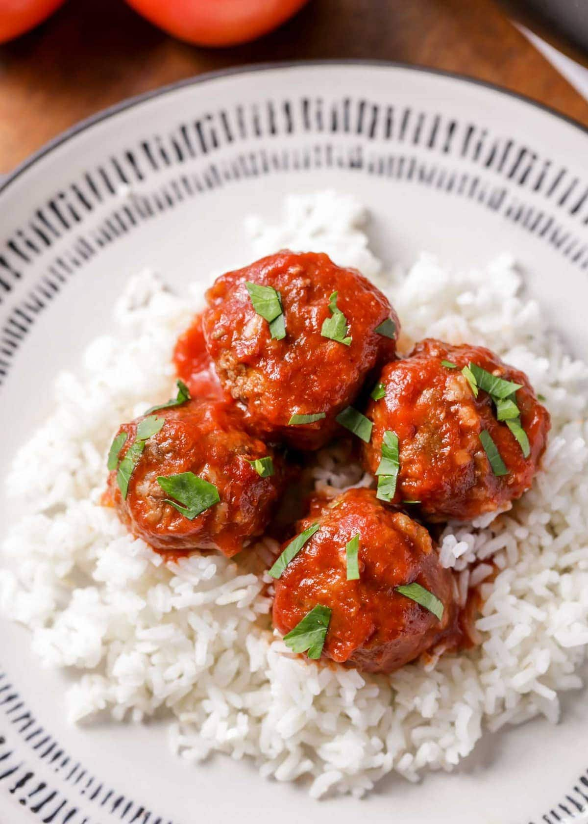 Porcupine meatball recipe served over white rice