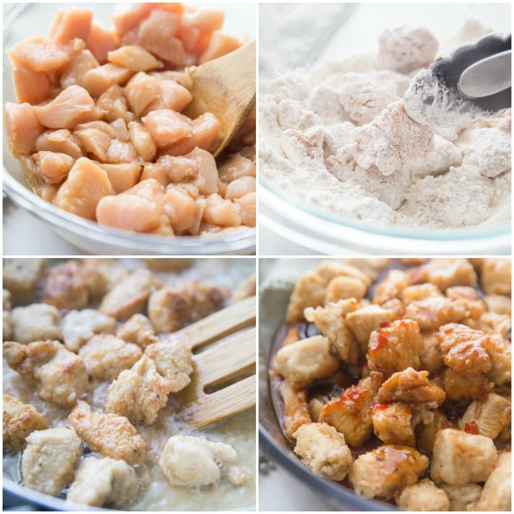How to make sesame chicken process pic, chicken coated in flour