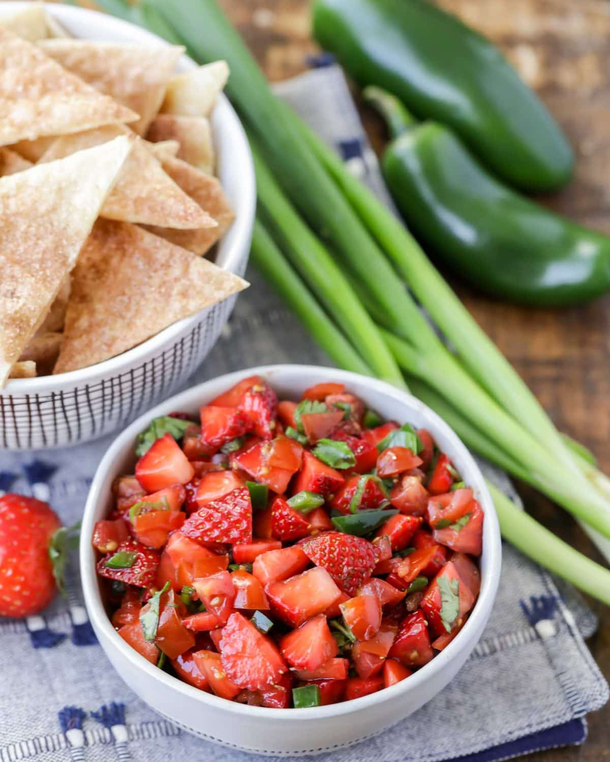 Strawberry Jalapeño Salsa served with Cinnamon Chips