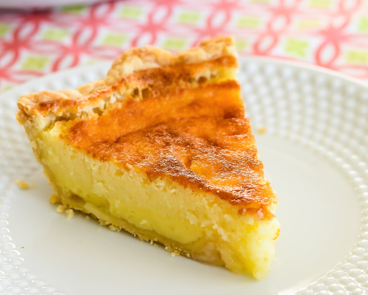 Buttermilk Pie on white plate