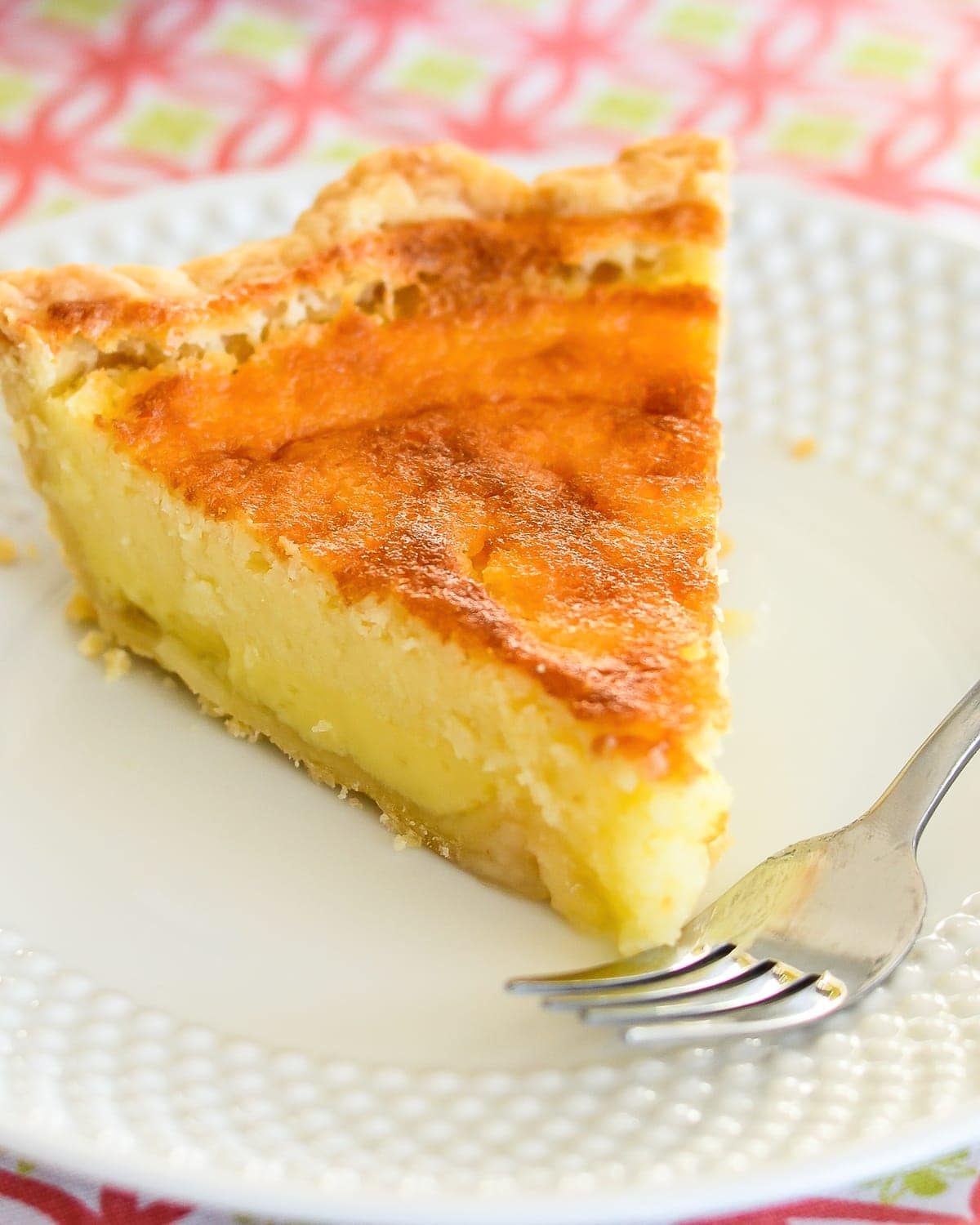 Old-Fashioned Buttermilk pie on white plate