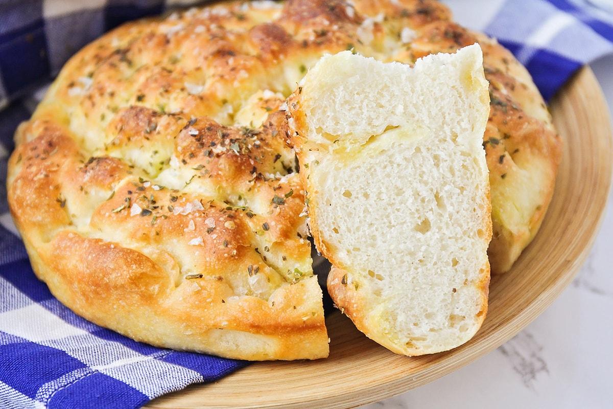 Freshly baked focaccia bread