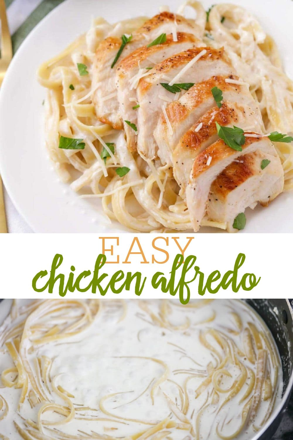 Chicken Alfredo with Fettuccine noodles on white plate