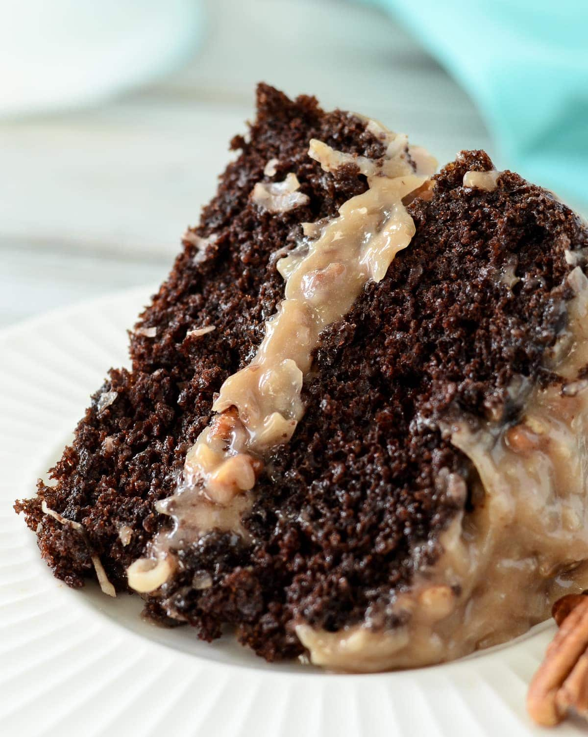 Slice of german chocolate cake on a plate