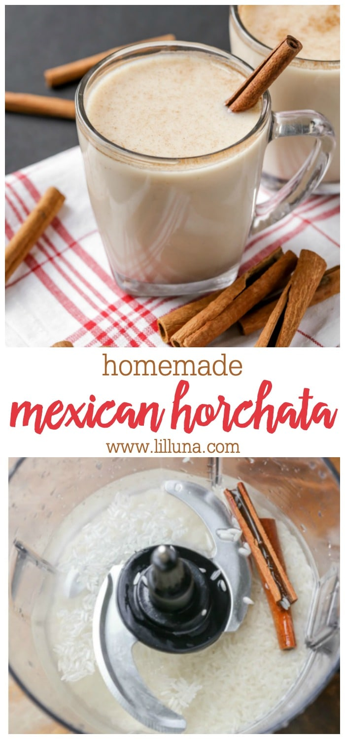 Collage for homemade horchata recipe