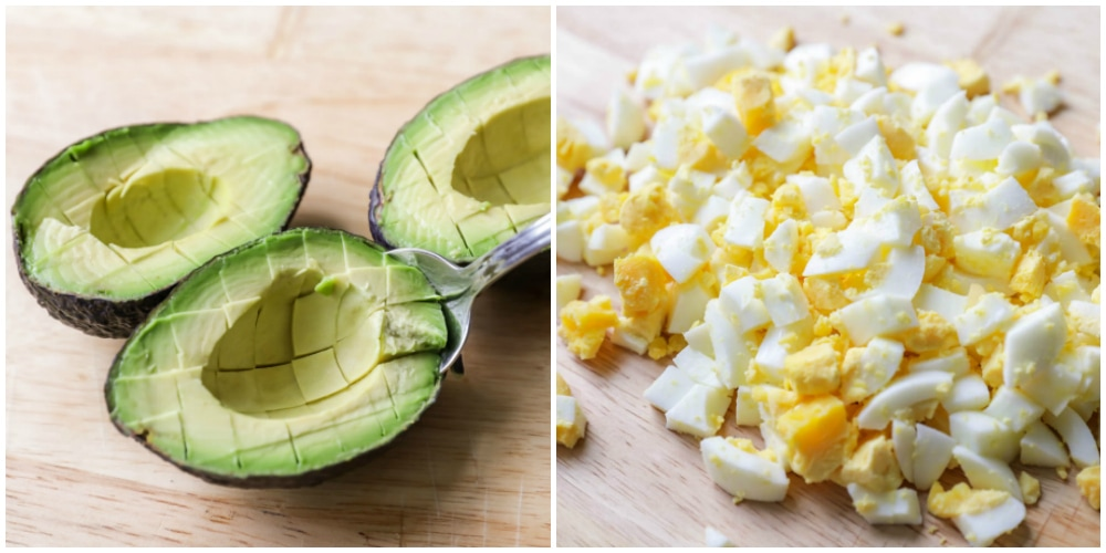 Collage of cubed avocado and chopped hard-boiled egg on a cutting board