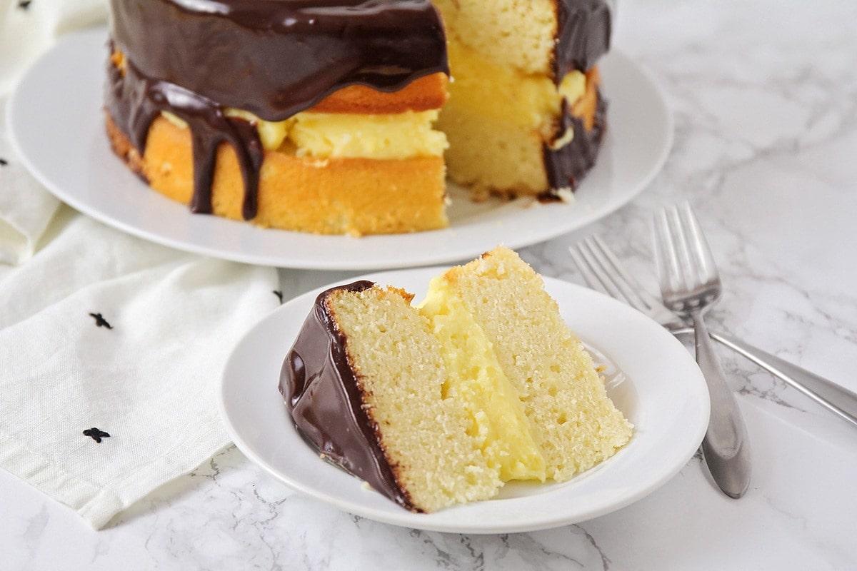 Pleasant Boston Cream Pie With Chocolate Ganache Lil Luna Funny Birthday Cards Online Inifodamsfinfo