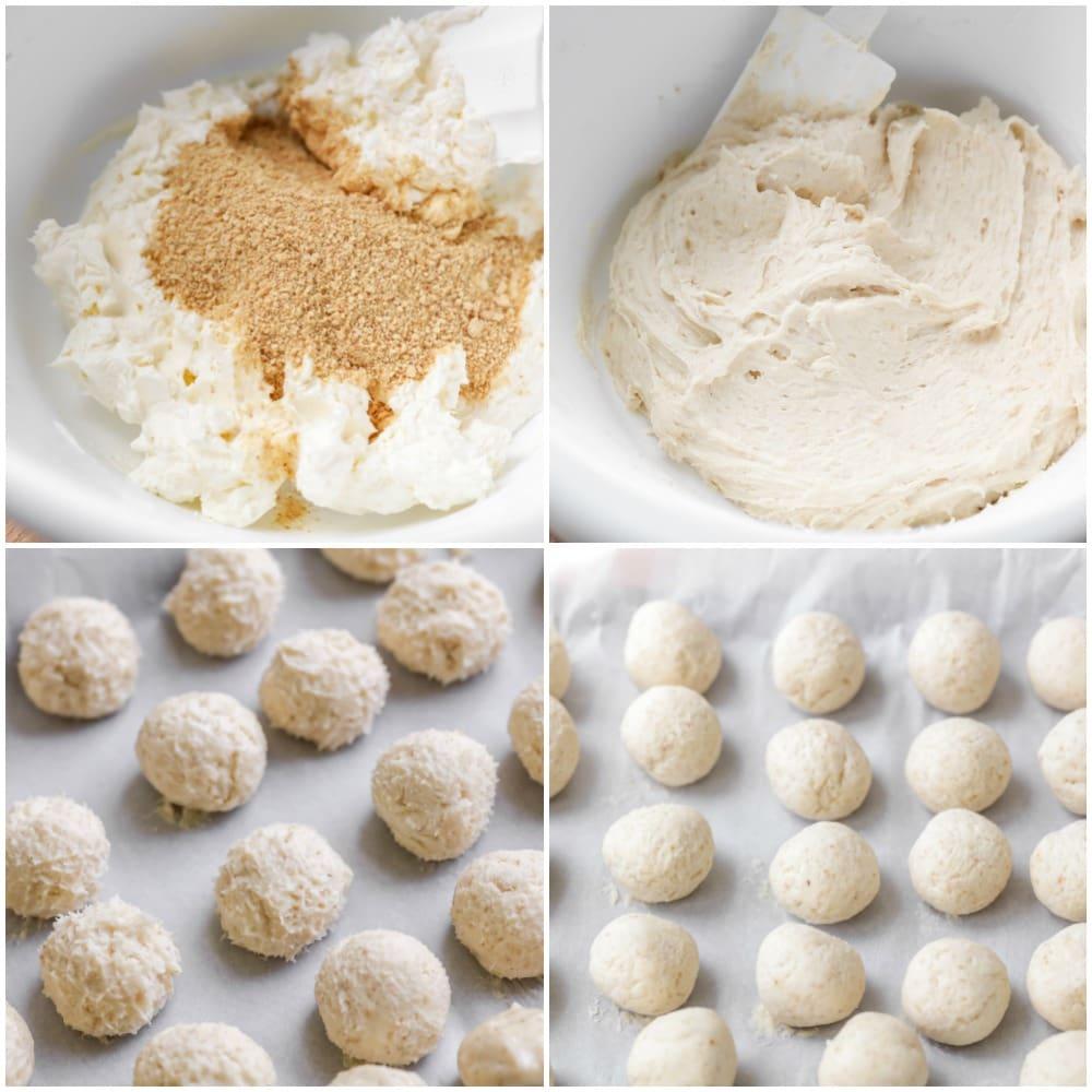 Process shots of making no bake cheesecake balls