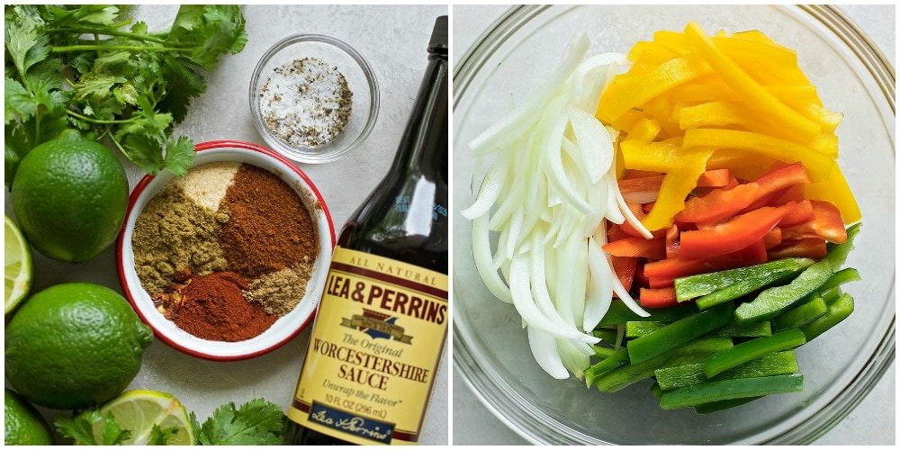 Seasonings, sauces and veggies for steak fajita marinade