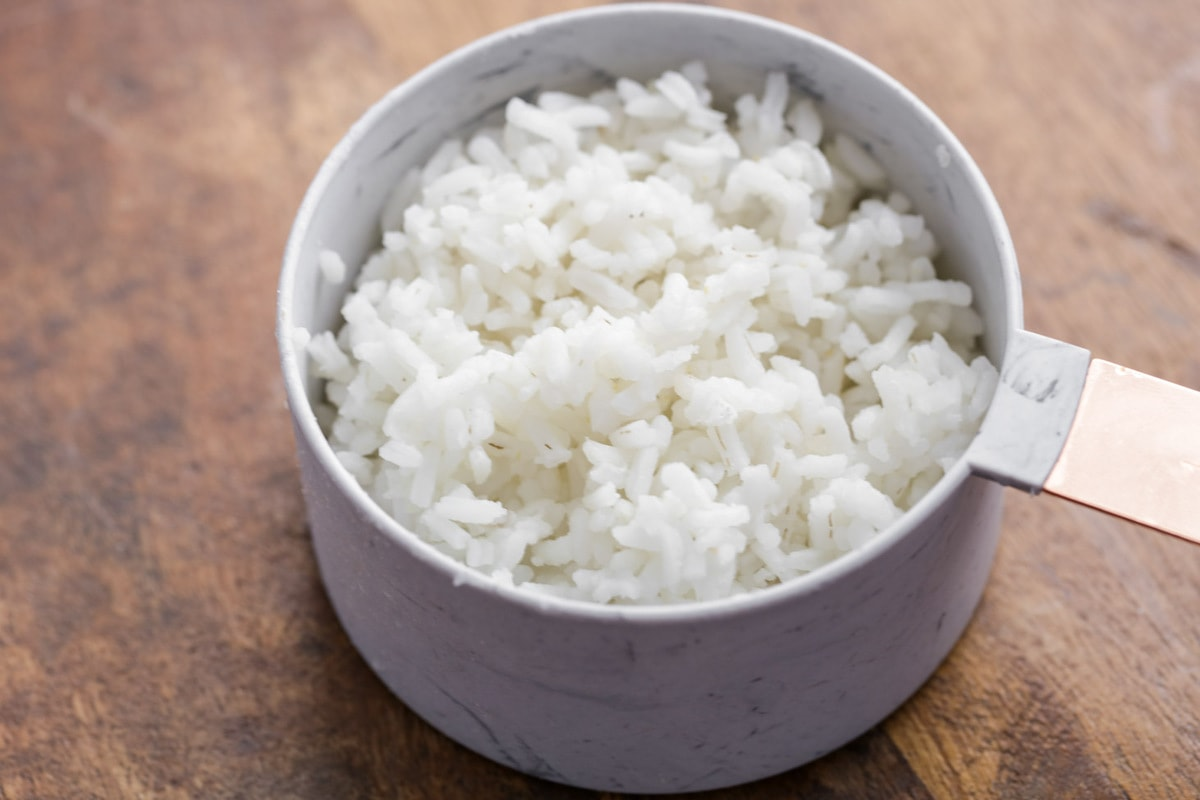 White rice in cup