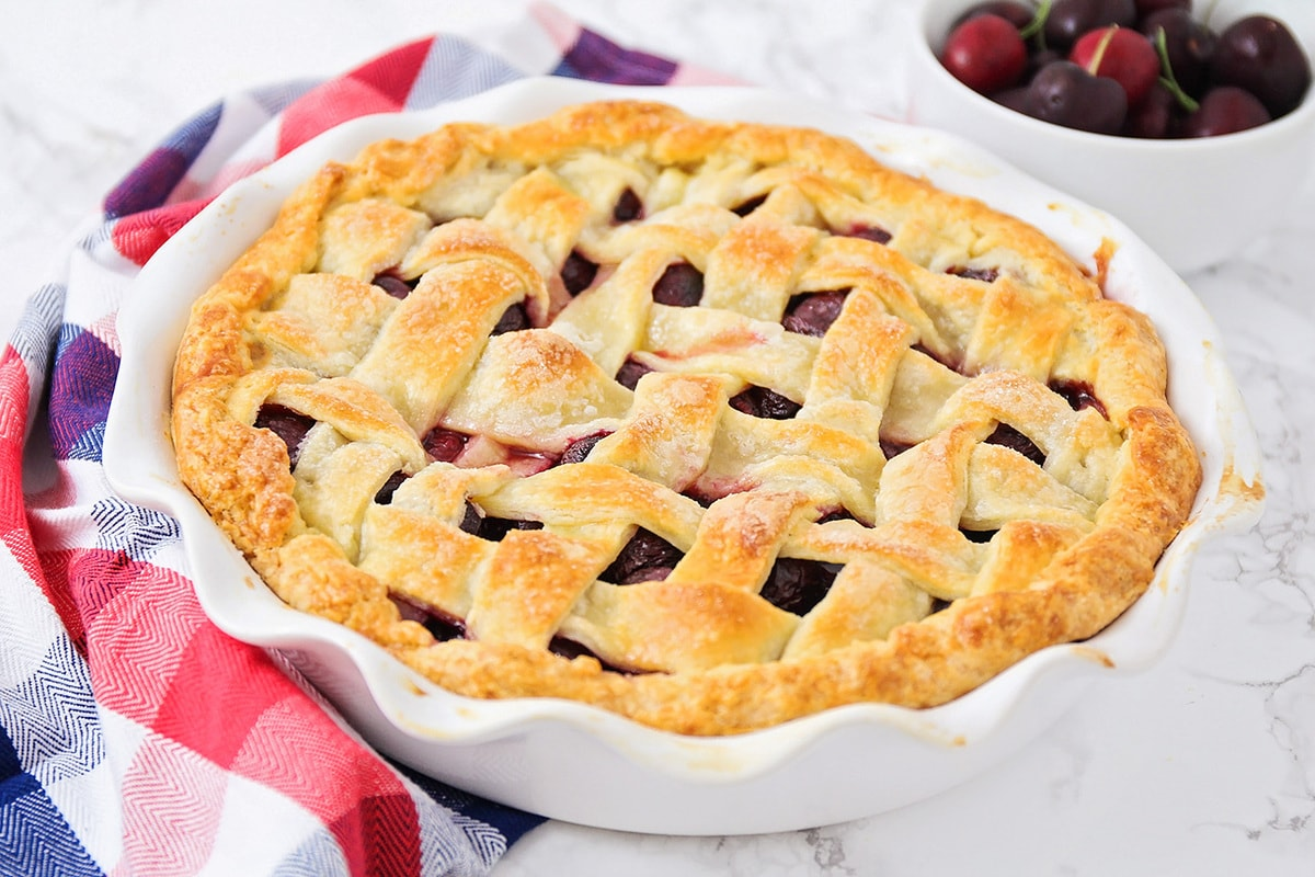 Cherry pie with a lattice crust