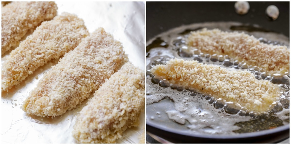 Breaded and fried chicken tenders in a frying pan