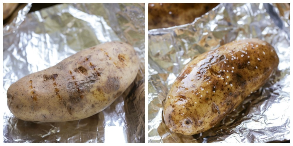 a potato being prepared and wrapped in tinfoil