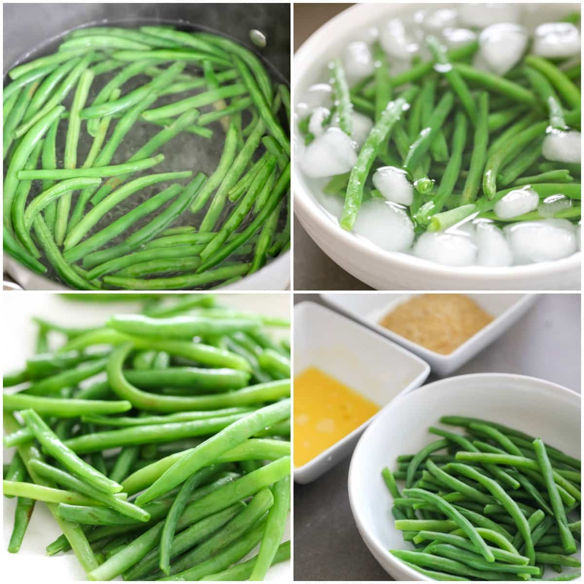 Process pics for blanching green beans before frying