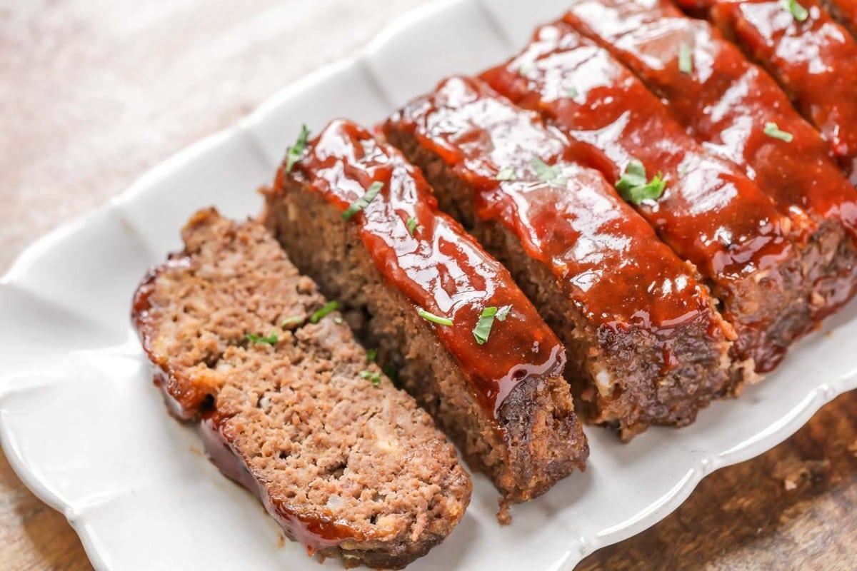 Meatloaf on a white serving platter