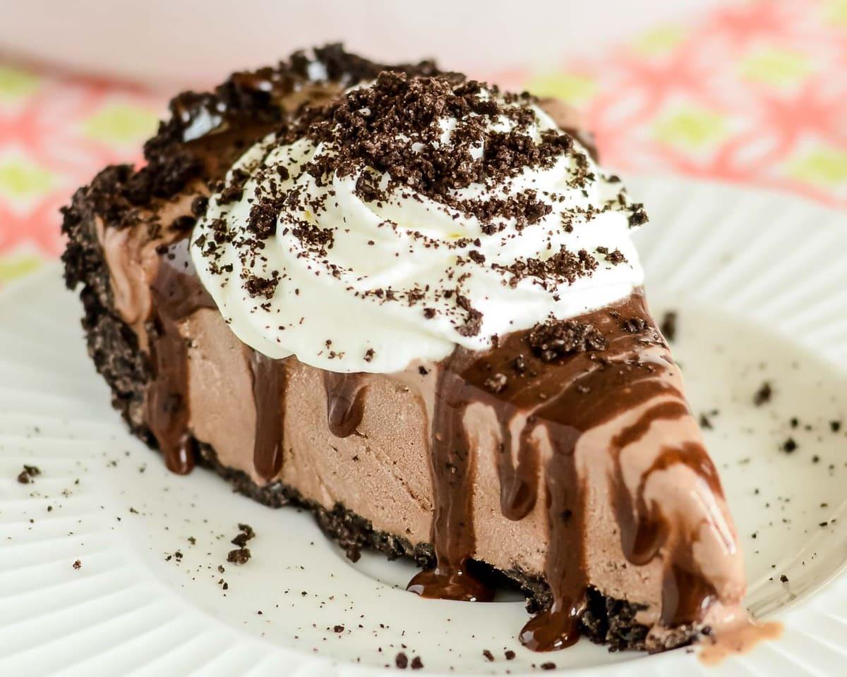 Mud pie slice on white plate