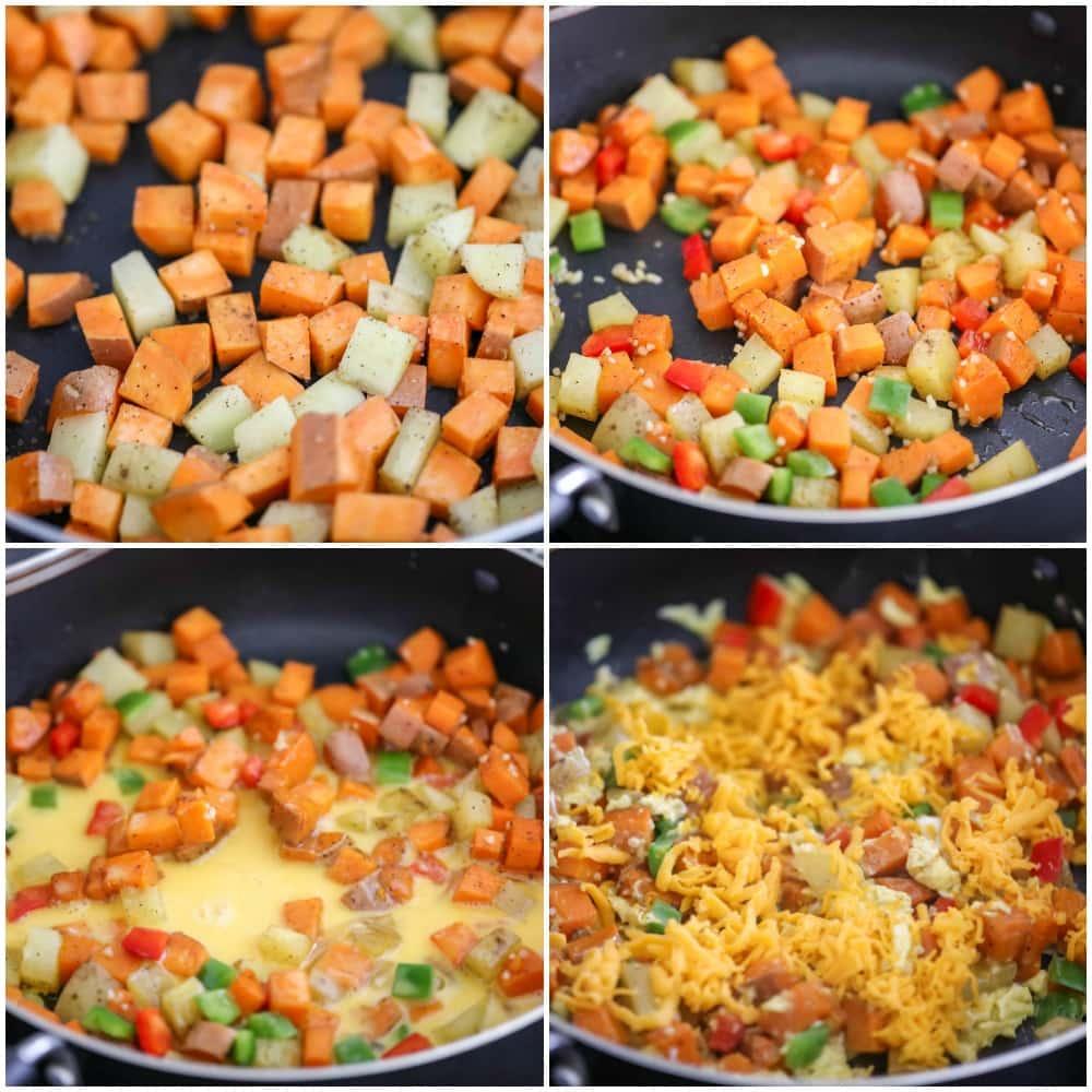steps for making sweet potato and egg breakfast
