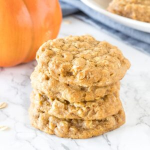 A stack of 3 soft and chewy pumpkin oatmeal cookies