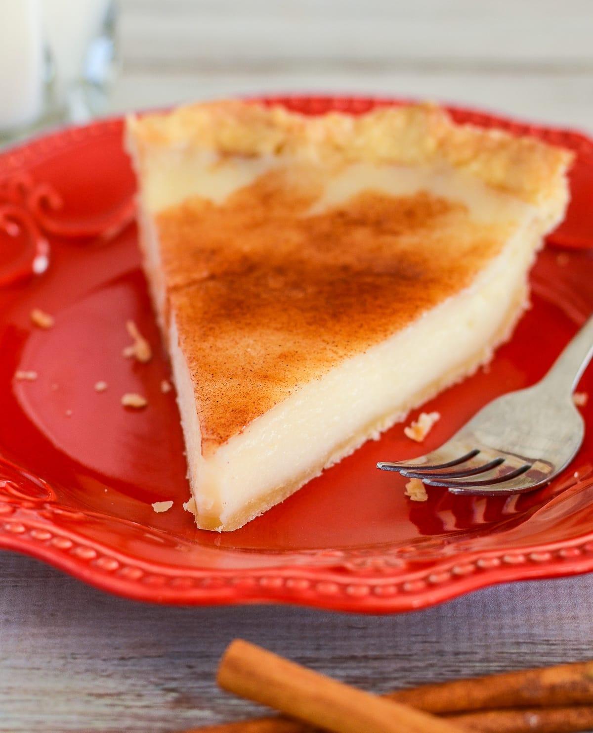 close up of slice of sugar cream pie