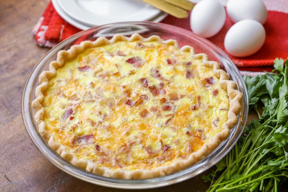 Breakfast quiche in a class pie dish