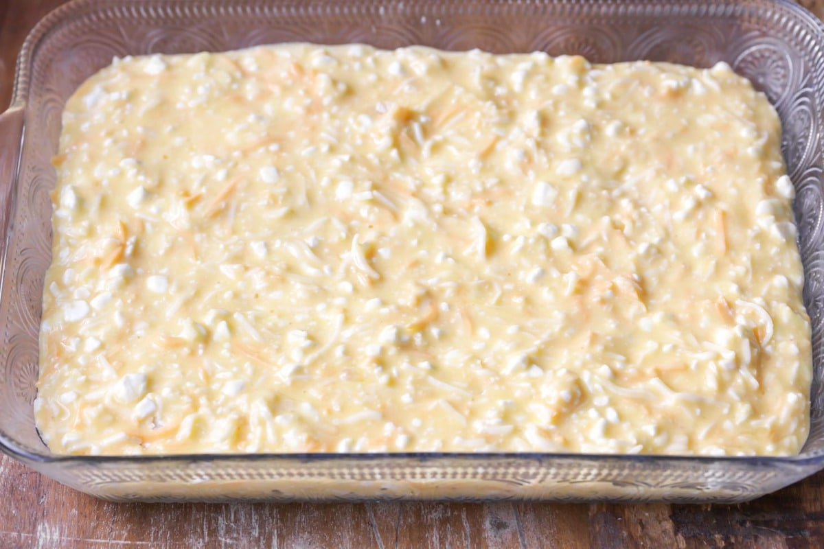 Baked eggs mixture in a glass baking dish