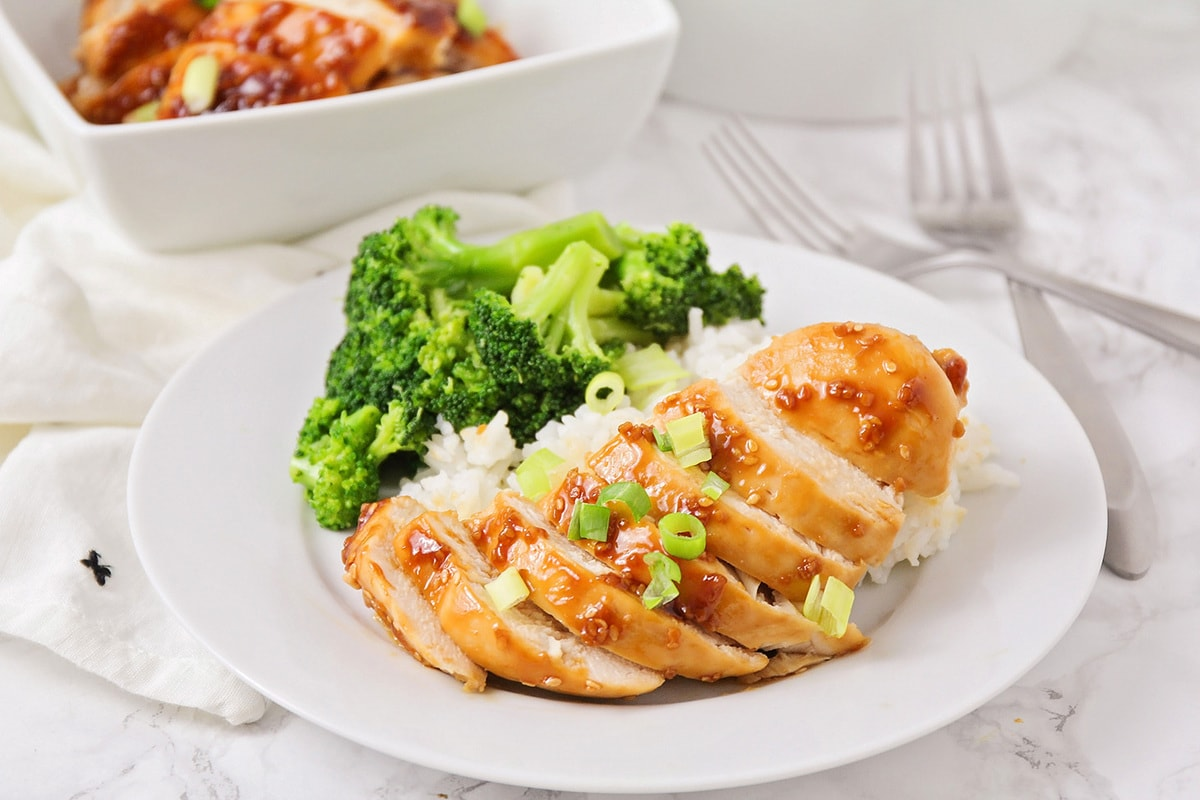 Baked teriyaki chicken over white rice with broccoli
