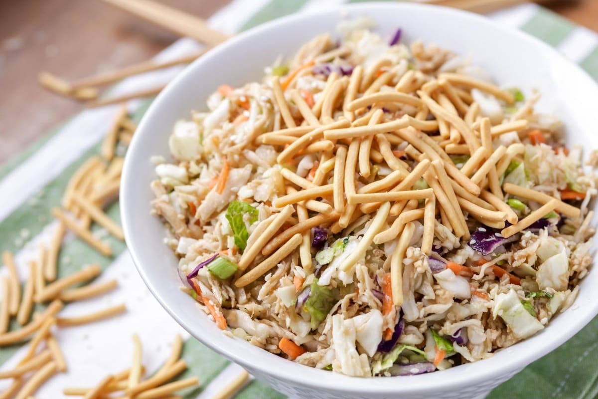 Chinese chicken salad topped with crunchy noodles