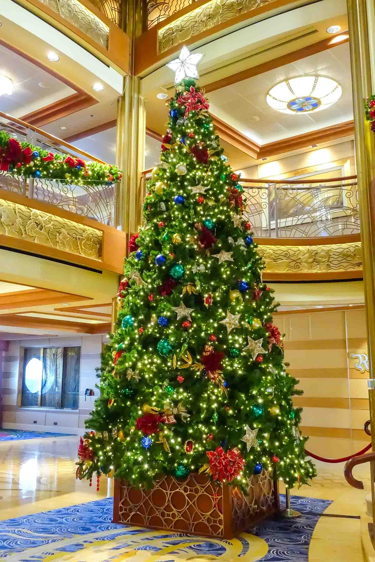 Large Christmas Tree on Disney cruise boat