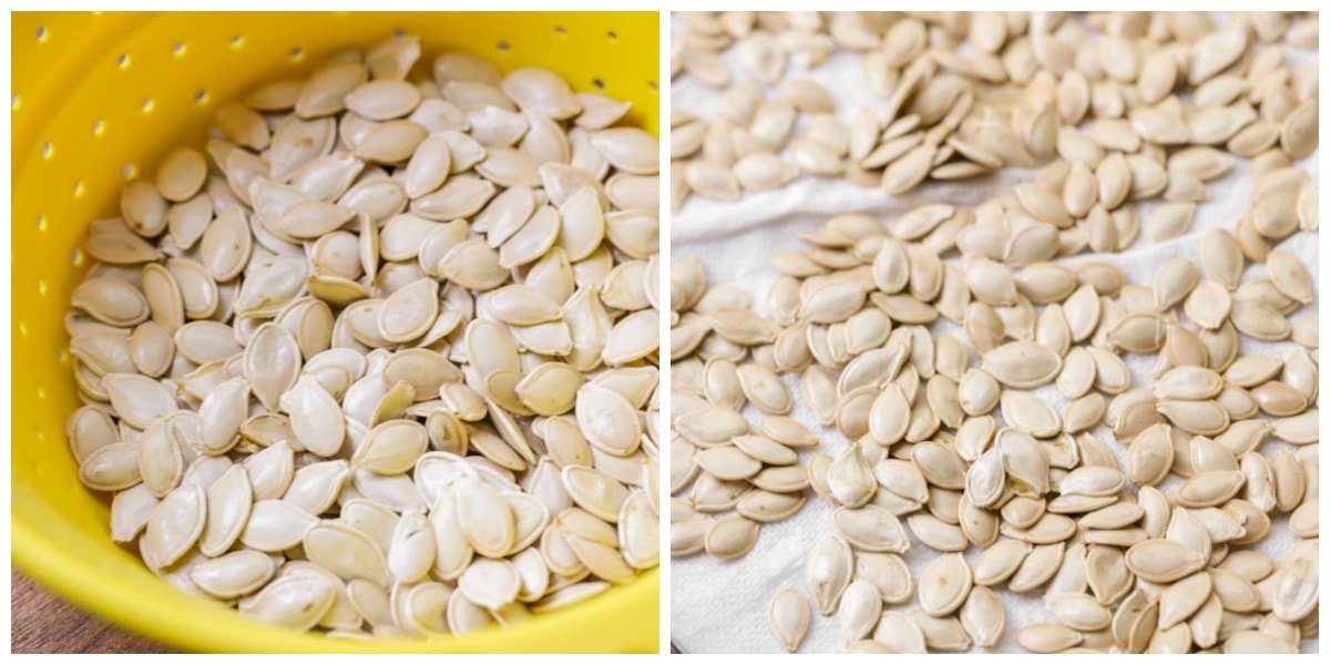 Washing and drying pumpkin seeds