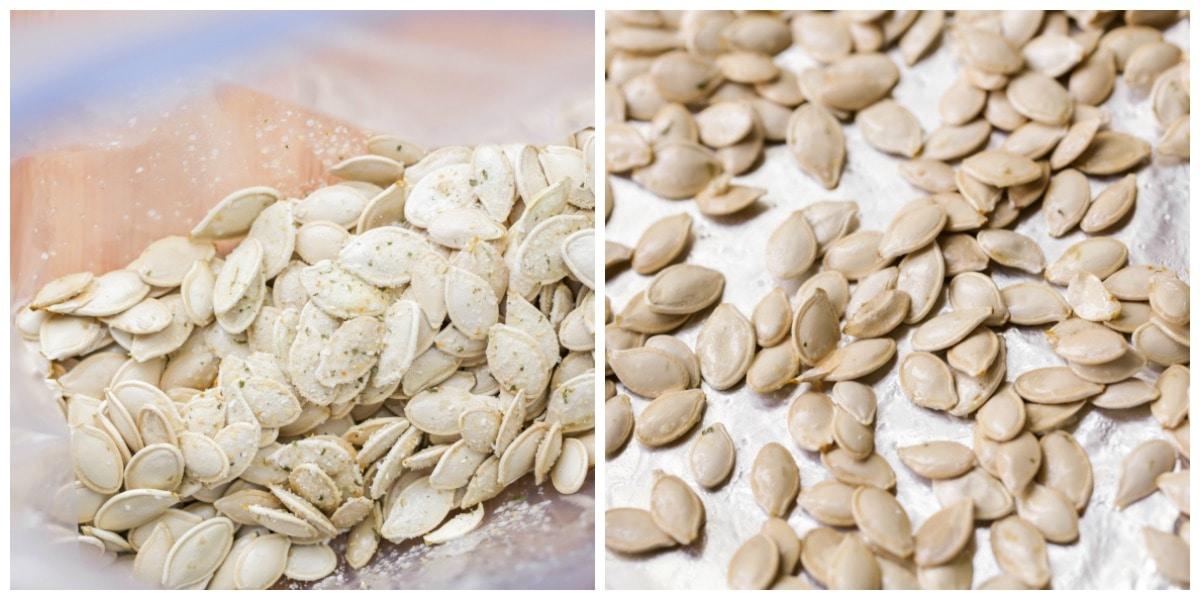 Adding seasoning to pumpkin seeds before baking