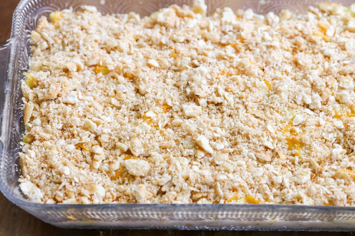 squash casserole with ritz crackers topping